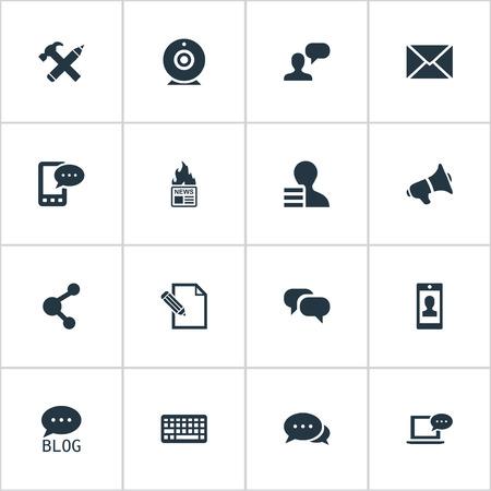 Vectorillustratiereeks Eenvoudige Gebruikerspictogrammen. Elements Post, Argument, Broadcast en andere synoniemenwinst, relatie en gesprek.