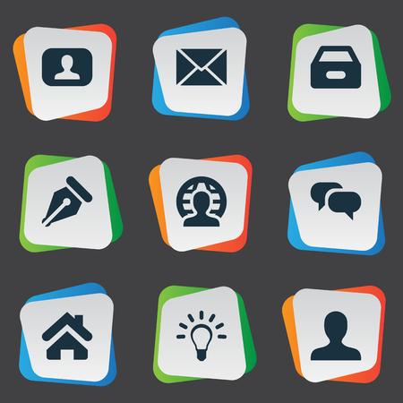 Illustration vectorielle définie des icônes de tâches simples. Éléments De La Lampe, Chatter, Représentant Et Autres Synonymes Terre, Dossier Et Lettre. Banque d'images - 77173351