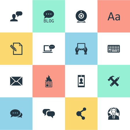 Vector Illustration Set Of Simple Newspaper Icons. Elements Repair, Gossip, Broadcast And Other Synonyms Share, Broadcast And Laptop. Illustration
