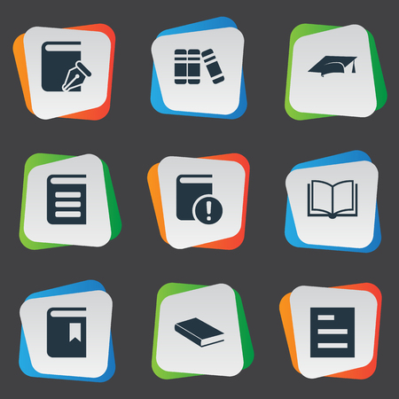 Vector Illustration Set Of Simple Books Icons. Elements Notebook, Sketchbook, Important Reading And Other Synonyms Reading, Dictionary And Encyclopedia.