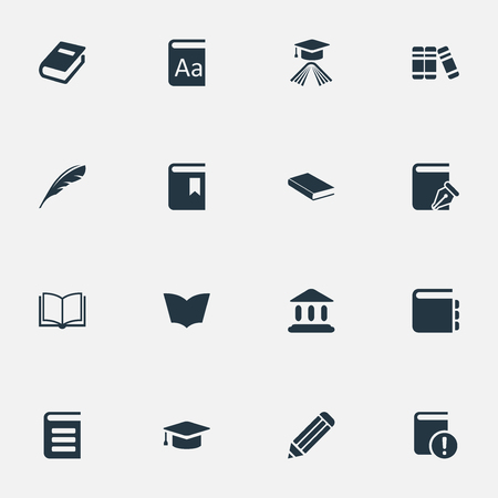 Vector Illustration Set Of Simple Knowledge Icons. Elements Library, Pen, Reading And Other Synonyms Page, Dictionary And Notepad.