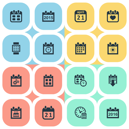 Vector Illustration Set Of Simple Date Icons. Elements Reminder, Heart, 2016 Calendar And Other Synonyms History, Data And Gear.