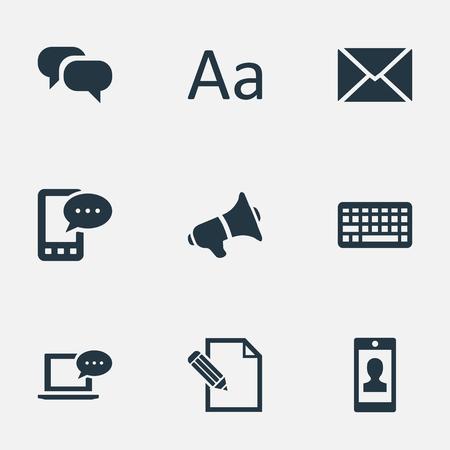 Vectorillustratiereeks Eenvoudige Gebruikerspictogrammen. Elementenprofiel, toetsenbord, document en andere synoniemen E-Letter, Epistle And Typography. Stockfoto - 77172541