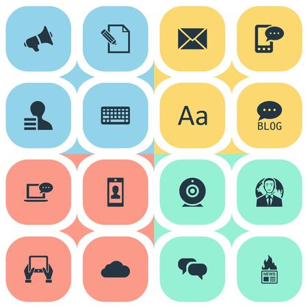 Vector illustratie Set van eenvoudige bloggen pictogrammen. Elements Bewolkt, Cedilla, Site en andere internationale synoniemen, plaatsen en afwerken.