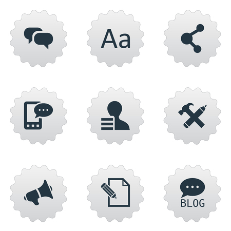 Vector Illustration Set Of Simple Newspaper Icons. Elements E-Letter, Gossip, Gain And Other Synonyms Pencil, Blog And Hammer.