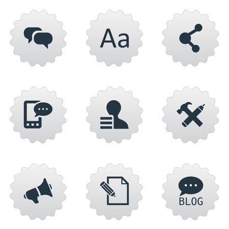 Vectorillustratiereeks Eenvoudige Krantenpictogrammen. Elements E-Letter, Gossip, Gain And Other Synoniemen Pencil, Blog And Hammer. Stock Illustratie