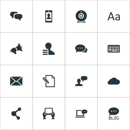 missive: Vector Illustration Set Of Simple Blogging Icons. Elements Man Considering, Cedilla, Overcast And Other Synonyms Relation, Notepad And Broadcast.