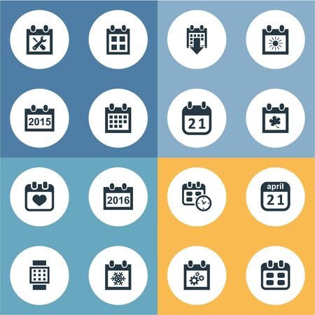 Vector Illustration Set Of Simple Date Icons. Elements Snowflake, Leaf, Almanac And Other Synonyms Date, Sun And Almanac. Çizim