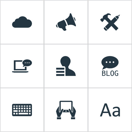 Vector Illustration Set Of Simple Newspaper Icons. Elements Overcast, Loudspeaker, Gain And Other Synonyms Loudspeaker, Hand And Sky.