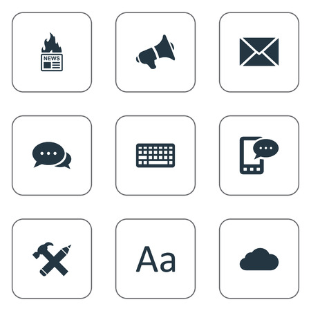 Vector Illustration Set Of Simple Newspaper Icons. Elements E-Letter, Repair, Keypad And Other Synonyms Pencil, Post And Negotiation. Illustration