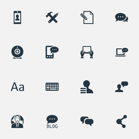 Vector Illustration Set Of Simple Newspaper Icons. Elements Laptop, Cedilla, Repair And Other Synonyms Hand, Discussion And Conversation.