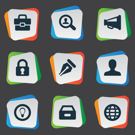trade secret: Vector Illustration Set Of Simple Job Icons. Elements Magnifier, Nib, Padlock And Other Synonyms Suitcase, Incognito And Megaphone.