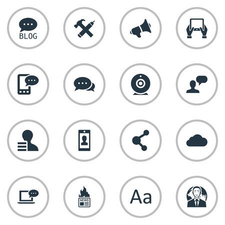 Vector illustratie Set van eenvoudige bloggen pictogrammen. Elementen-site, internationale zakenman, laptop en ander synoniemennieuws, spreker en bericht. Stock Illustratie