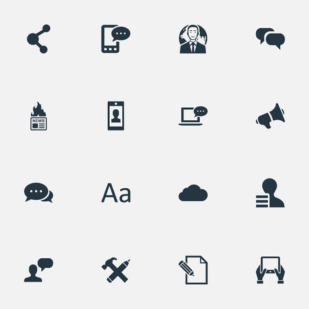 Vector illustratie Set van eenvoudige bloggen pictogrammen. Elementenargument, e-brief, document en ander synoniemenblad, typografie en profiel. Stock Illustratie