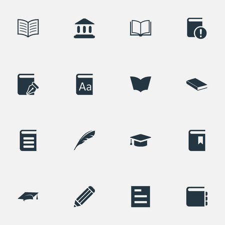 Vector Illustration Set Of Simple Education Icons. Elements Tasklist, Blank Notebook, Book Cover And Other Synonyms Catalog, Writing And Quill.