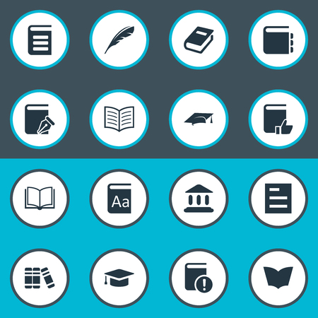 Vector Illustration Set Of Simple Knowledge Icons. Elements Recommended Reading, Reading, Academic Cap And Other Synonyms Dictionary, Quill And Library. Ilustrace