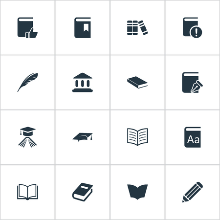 open magazine: Vector Illustration Set Of Simple Reading Icons. Elements Academic Cap, Plume, Library And Other Synonyms Blank.