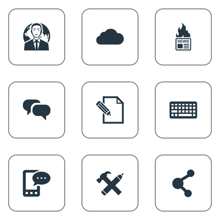 Vector Illustration Set Of Simple Newspaper Icons. Elements International Businessman, Gossip, E-Letter And Other Synonyms Sky, Relation And News.