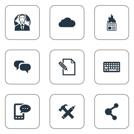 Vectorillustratiereeks Eenvoudige Krantenpictogrammen. Elementen internationale zakenman, roddel, e-brief en andere synoniemenhemel, relatie en nieuws.