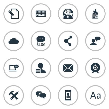 Vector illustratie Set van eenvoudige bloggen pictogrammen. Elementen roddelen, posten, repareren en andere synoniemen blog, smartphone en schrijven. Stock Illustratie