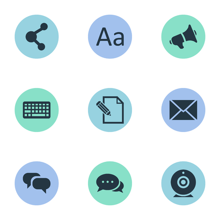Vector Illustration Set Of Simple Newspaper Icons. Elements Broadcast, Loudspeaker, Share And Other Synonyms Alphabet, Relation And Writing.