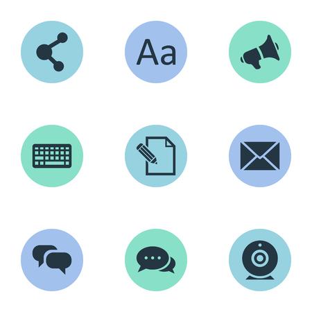 Vectorillustratiereeks Eenvoudige Krantenpictogrammen. Elements Broadcast, Loudspeaker, Share And Other Synoniemen Alfabet, relatie en schrijven.