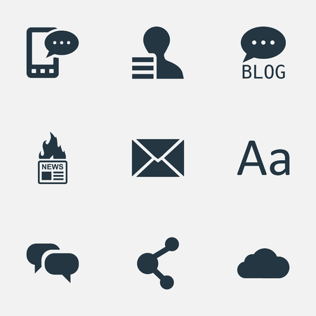 Vector Illustration Set Of Simple Newspaper Icons. Elements E-Letter, Site, Share And Other Synonyms Conversation, Earnings And Network.