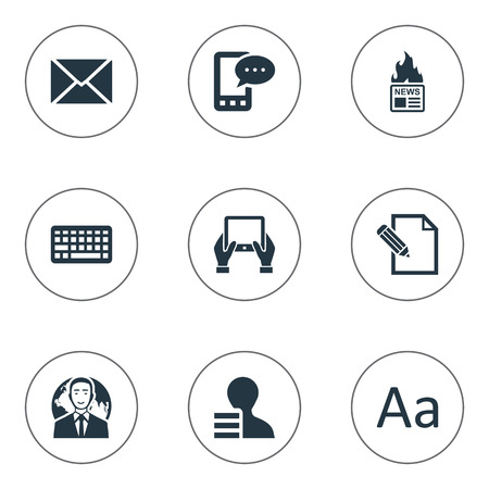 Vector Illustration Set Of Simple Newspaper Icons. Elements Keypad, Cedilla, Gazette And Other Synonyms Hand, Post And Writing.