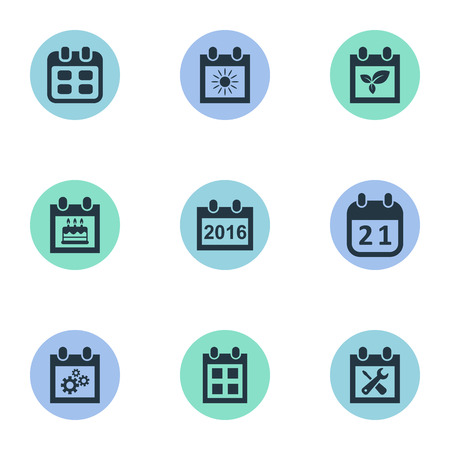 Vector Illustration Set Of Simple Calendar Icons. Elements Almanac, Agenda, Plant And Other Synonyms Date, Sun And Summer.