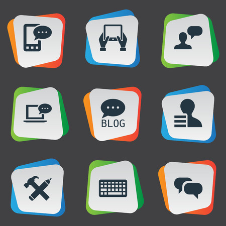 Vector Illustration Set Of Simple Newspaper Icons. Elements Notepad, Repair, Gossip And Other Synonyms Gain, Hammer And Laptop. Çizim
