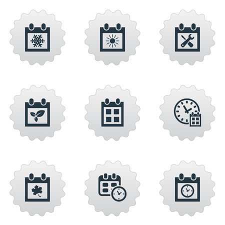 Vector Illustration Set Of Simple Calendar Icons. Elements Planner, Deadline, Renovation Tools And Other Synonyms Date, Deadline And Summer.