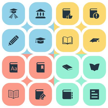 벡터 일러스트 레이 션 간단한 책 아이콘의 집합입니다. 요소 스케치 북, 학습 모자, 도서관 및 기타 동의어 교과서, 스케치북 및 중요. 일러스트