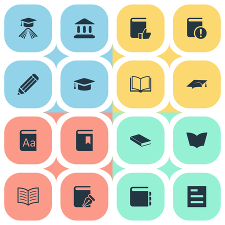 Vector Illustration Set Of Simple Books Icons. Elements Sketchbook, learning Cap, Library And Other Synonyms Textbook, Sketchbook And Important. Illustration