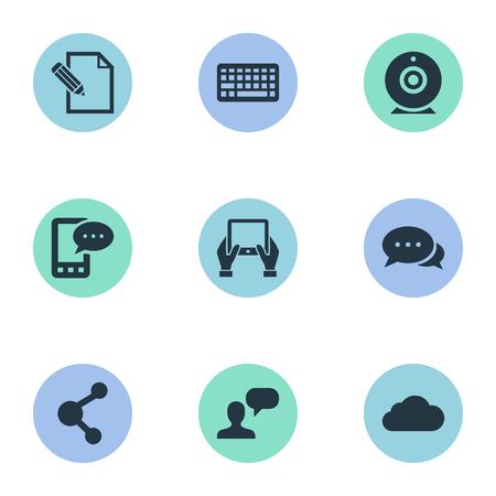Vector illustratie Set van eenvoudige bloggen pictogrammen. Elements Share, Argument, Keypad en andere synoniemen overwegen, laptop en bewolkt.
