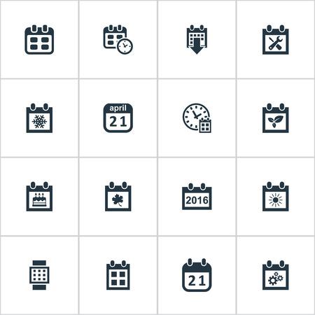 単純な時間アイコンのベクター イラスト セット。要素のイベント、夏のカレンダー、議題とその他類義語アラーム、植物および時間。