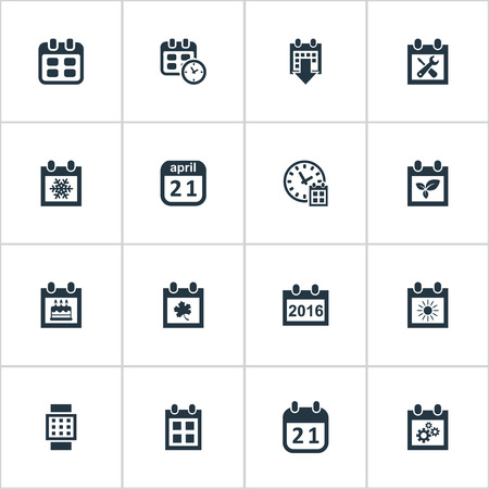 Vector Illustration Set Of Simple Time Icons. Elements Event, Summer Calendar, Agenda And Other Synonyms alarm, Plant And Time. Иллюстрация