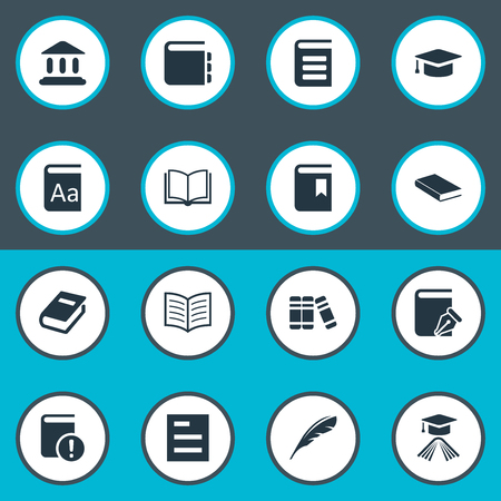 Vector Illustration Set Of Simple Knowledge Icons. Elements Journal, Important Reading, Learning Cap And Other Synonyms Important, Academy And Write.