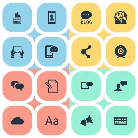 Vectorillustratiereeks Eenvoudige Gebruikerspictogrammen. Elementen document, site, laptop en andere synoniemen delen, netwerk en blog. Stock Illustratie