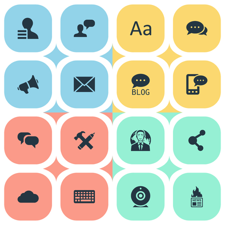 qwerty: Vector Illustration Set Of Simple User Icons. Elements Share, Cedilla, Loudspeaker And Other Synonyms Network, Cedilla And Speech.