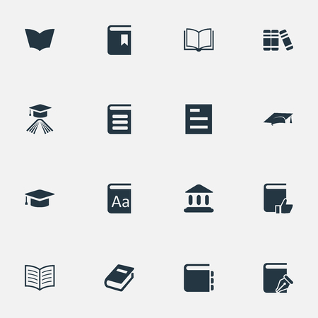 open magazine: Vector Illustration Set Of Simple learning Icons. Elements Alphabet, Book Page, Library And Other Synonyms Recommended, Page And Textbook. Illustration