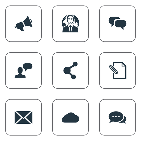 Vector Illustration Set Of Simple Blogging Icons.