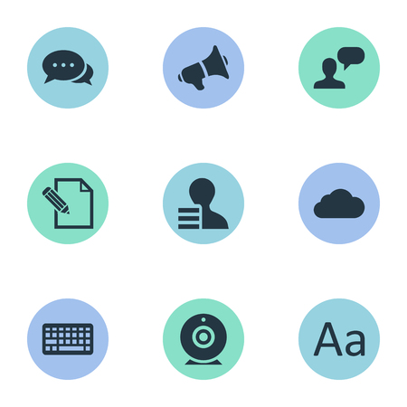 Vector Illustration Set Of Simple User Icons. Elements file, Overcast, Man Considering And Other Synonyms Laptop, Considering And Debate.