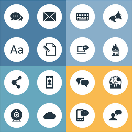 Vector Illustration Set Of Simple User Icons. Elements Share, Post, Broadcast And Other Synonyms Sky, Web And Epistle.