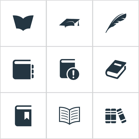 Vector Illustration Set Of Simple Education Icons. Elements Notebook, Important Reading, Plume And Other Synonyms Journal, Literature And Feather.