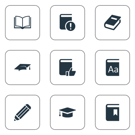 Vector Illustration Set Of Simple Books Icons. Elements Blank Notebook, Academic Cap, Recommended Reading And Other Synonyms Recommended, Notebook And Hat.