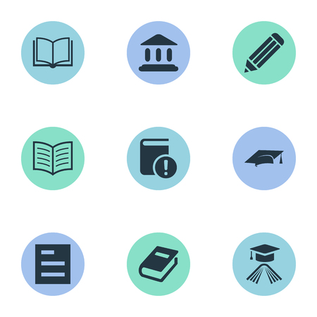Vector Illustration Set Of Simple Education Icons. Elements Notebook, Graduation Hat, Important Reading And Other Synonyms Graduation, List And Book.