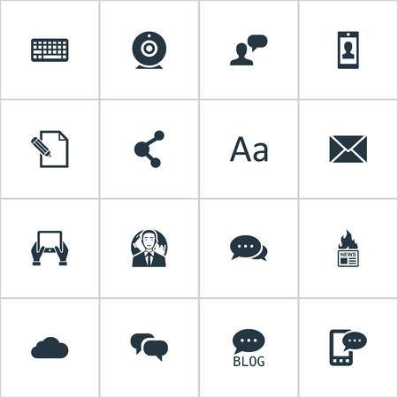 Vector Illustration Set Of Simple Blogging Icons. Elements Gossip, Broadcast, Notepad And Other Synonyms Discussion, Camera And Writing.