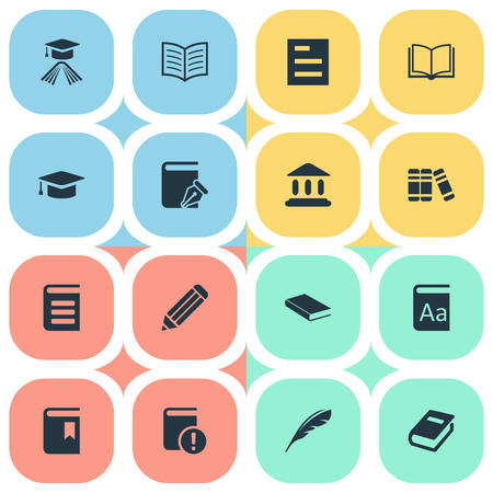 Vector Illustration Set Of Simple Reading Icons. Elements Notebook, Graduation Hat, Blank Notebook And Other Synonyms Document, Dictionary And Academy.