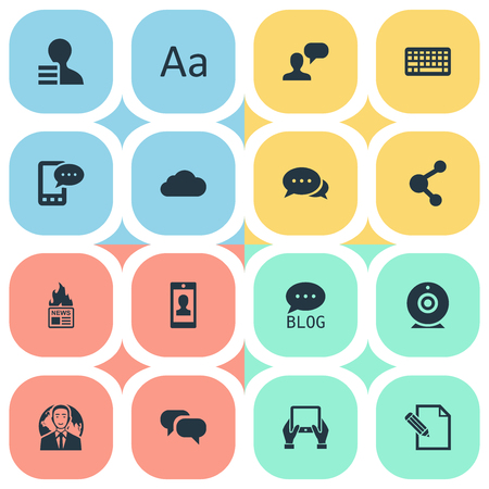 Vector Illustration Set Of Simple User Icons. Elements Gain, Notepad, Argument And Other Synonyms Gazette, Network And Pen.