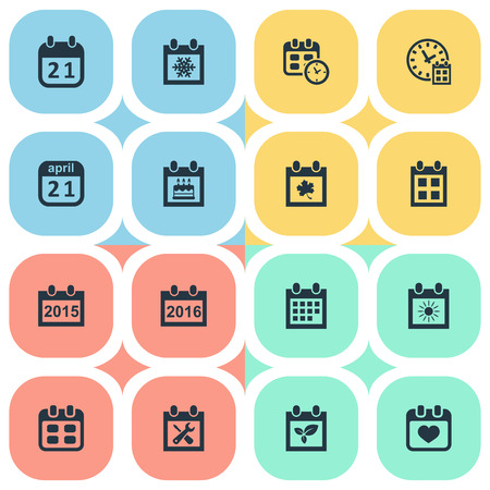 Vector Illustration Set Of Simple Time Icons. Elements Date, Deadline, 2016 Calendar And Other Synonyms History, Birthday And Remembrance. Illustration